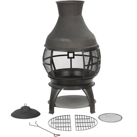 Burning Outdoor Chiminea Fire Pit