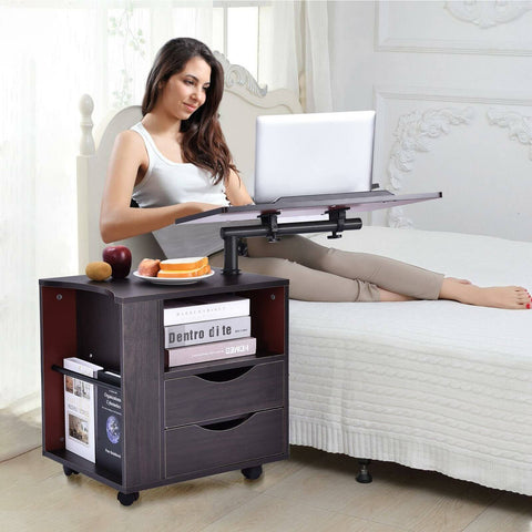 Adjustable Laptop Rolling Table Bedside Tray