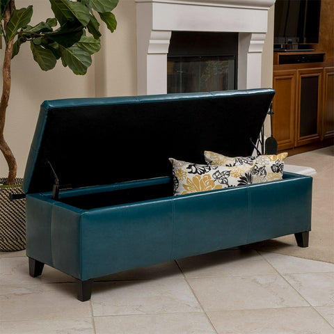 Teal Leather Storage Ottoman Bench
