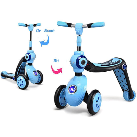 2-in-1 Kids Scooter with 3 Wheels