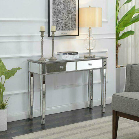 Silver Mirrored Console Vanity Dressing Table