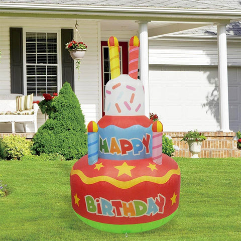 Inflatable Happy Birthday Cake with Candles