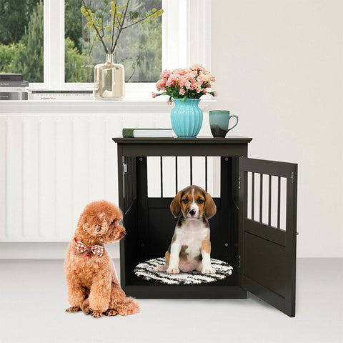 Dog Wooden Crate Kennel Cage Bed Night Stand
