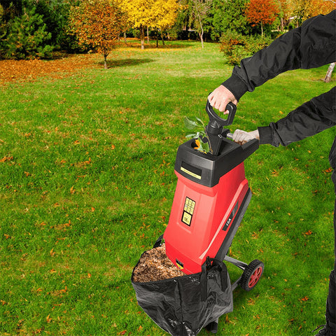 15Amp Electric Wood Chipper Shredder with Wheel