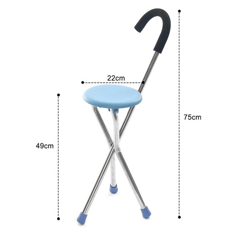 Heavy Duty Portable Walking Cane Seat & Foldable