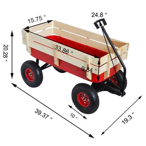 Heavy Duty Outdoor Foldable Kids Red Wagon