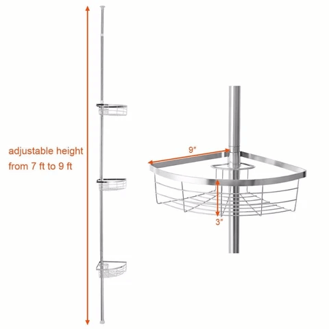 Tension Pole Standing Corner Shower Caddy