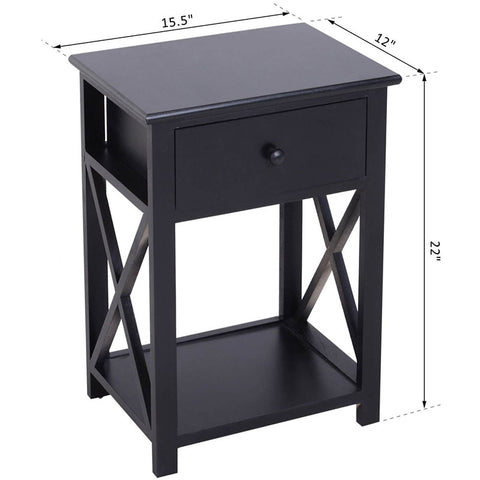 Wooden End Side Bedside Table Nightstand