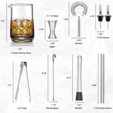 10 Pcs Crystal Cocktail Mixing Glass Set