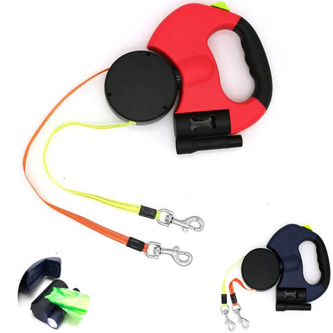 Dual Dog Rope Leash with Light Retractable