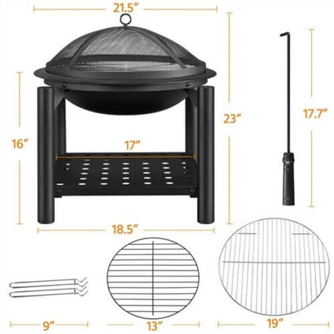 22in Outdoor Fire Pit Wood Burning Table