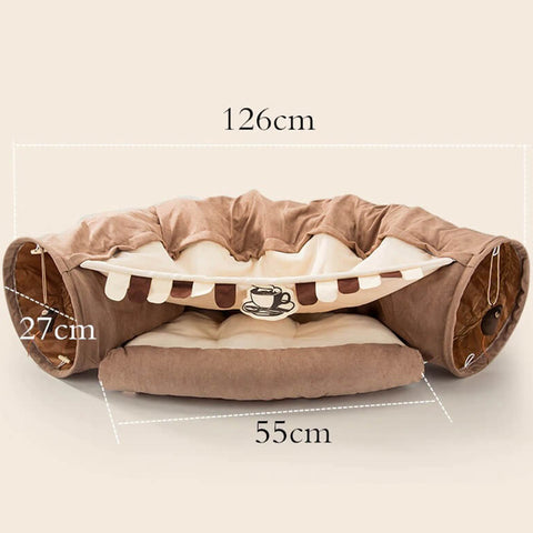 Collapsible Cat Bed Pet 2 Holes Tunnel