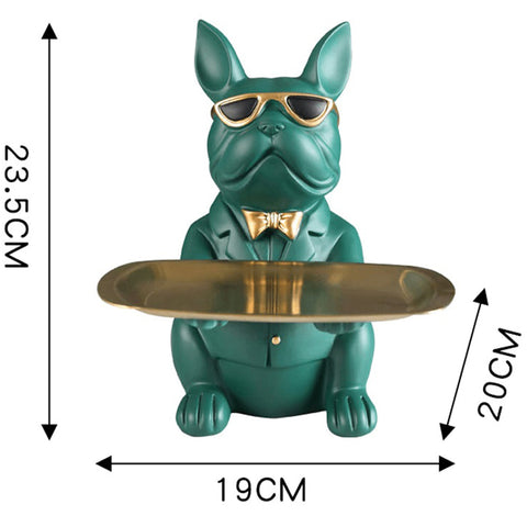 French Bulldog Sculpture Storage with Plate Glasses