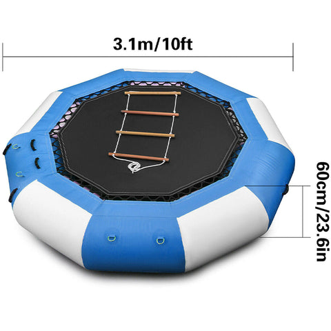 10ft Inflatable Water Trampoline Jump with Ladder
