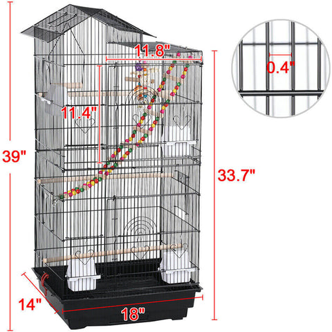Large Roof Top Metal Bird Cage with Toys