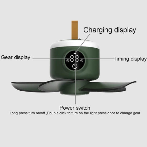 Timing Camping Fan with LED Lamp