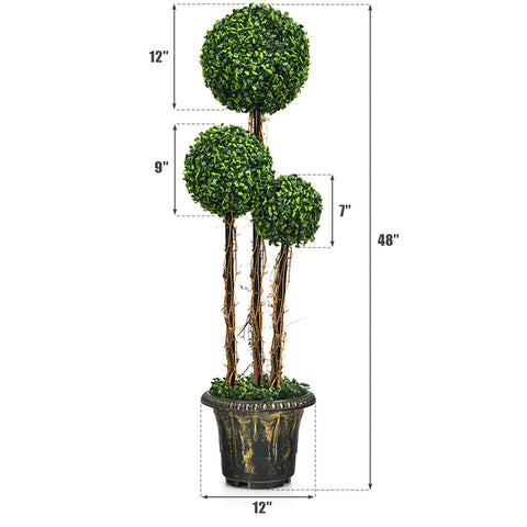 4ft Artificial Topiary Tree Fake Triple Ball Plant