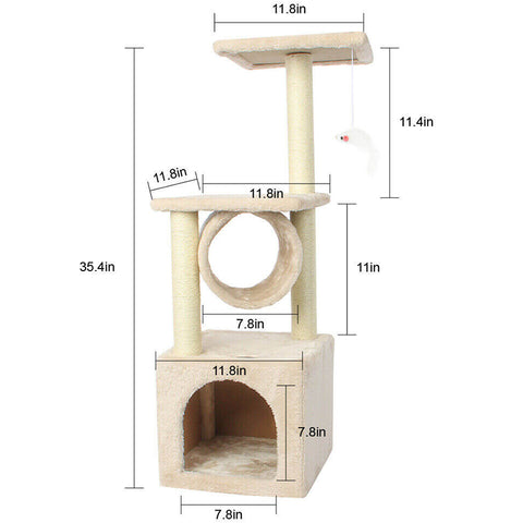 35in Cat Tree Bed Furniture Scratching Tower