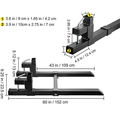 Clamp On Pallet Forks Loader Tractor Chain Bar