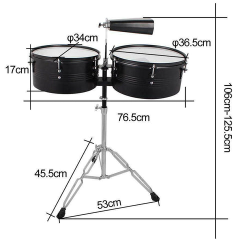Percussion Timbales Drum Set with Stand