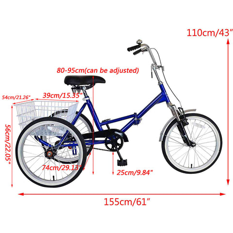 Portable Adult Tricycle Bike 3 Wheeler