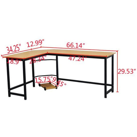 L Shaped Desktop Table Work Station