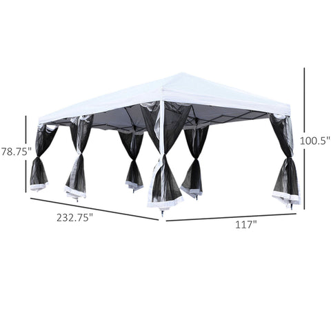 10x20ft Pop Up Party Tent Shelter with 6 Mesh