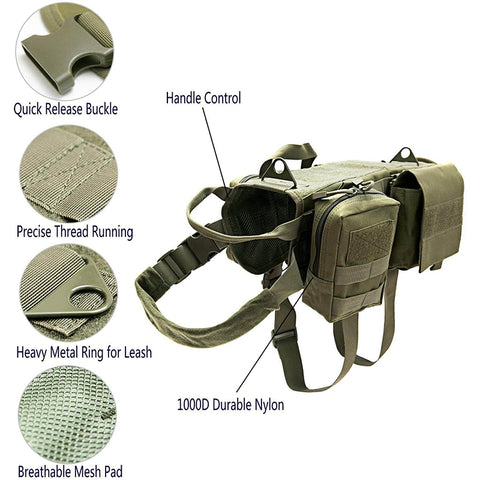 Tactical Dog Training Molle Vest Harness