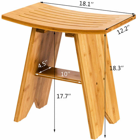 18in Bamboo Shower Seat Bench Bathroom