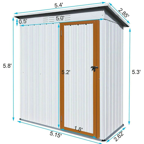 5x3ft Metal Shed Tool Storage House