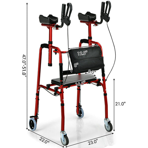 Folding Auxiliary Walker Rollator with Brakes