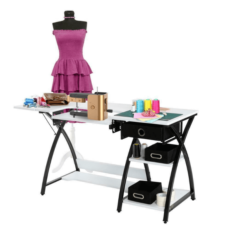 Large Portable Folding Sewing Machine Craft Table With Storage
