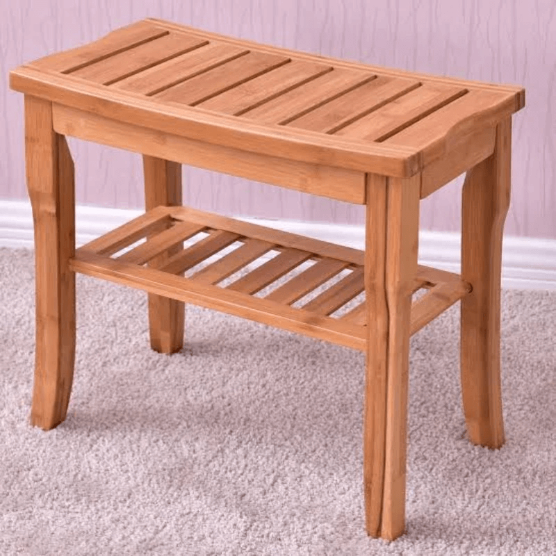 Waterproof Bamboo Wooden Shower Bench Seat With Storage Shelf