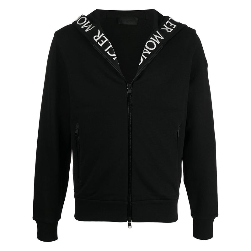 Moncler Embroidered Logo-Trim Hoodie (Black)