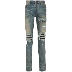 Amiri MX1 Distressed-Effect Leather Patch Jeans (Blue)