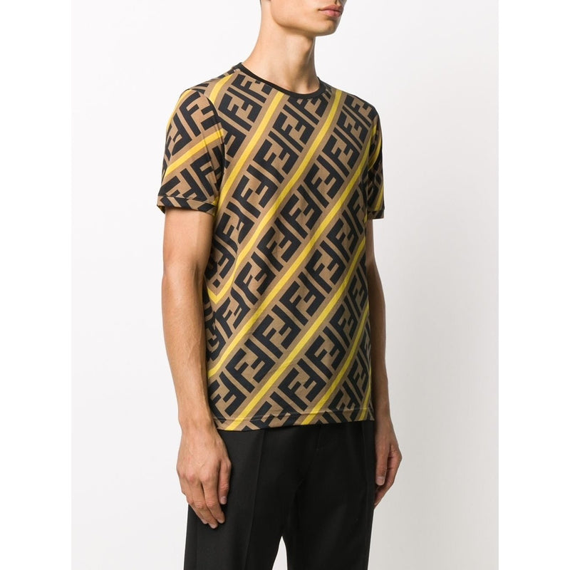 Fendi FF Logo Cotton T-shirt (Brown/Black/Yellow)