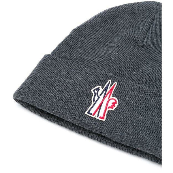 Moncler Grenoble Logo Patch Beanie (Grey)