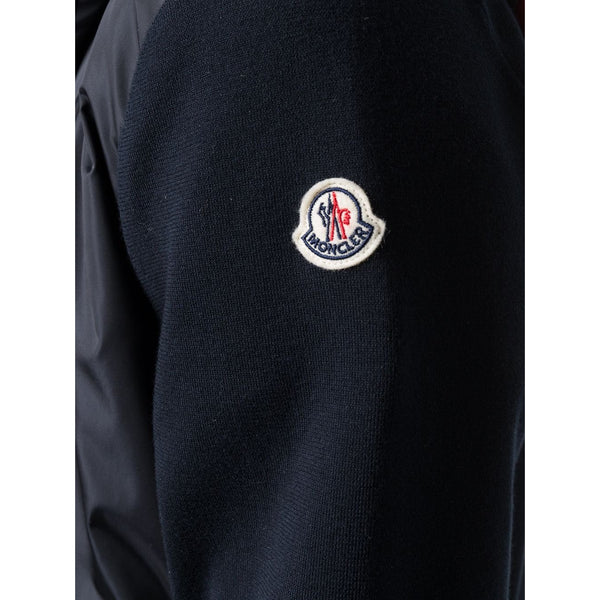 Moncler Nylon Hooded Cardigan (Navy/Tricolour)