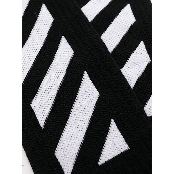 Off-White Diagonal Stripe Socks (Black/White)