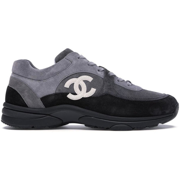 Chanel Suede CC Logo Trainers (Grey/Black)
