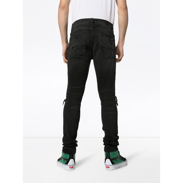 Amiri MX1 Slim-Fit Distressed Jeans (Black/Multicolor)
