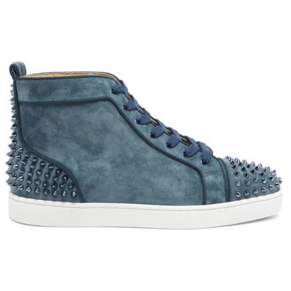 Christian Louboutin Lou Spikes Suede High-Top Trainers (Blue)