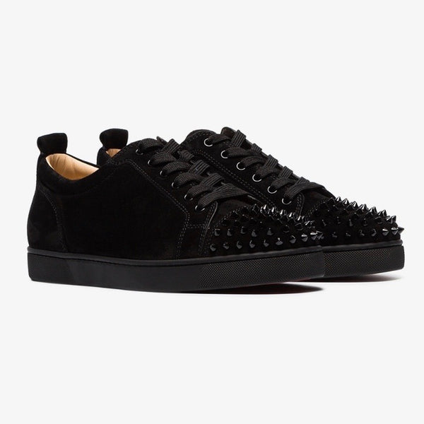 Christian Louboutin Suede Junior Spikes Trainers (Black)