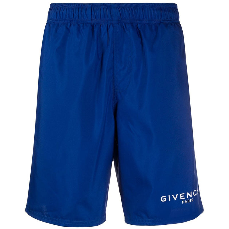 Givenchy Knee-Length Logo Swimming Shorts (Blue)