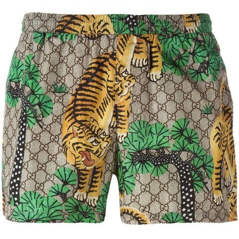 Gucci Bengal Tiger Print Shorts (Brown/Green)