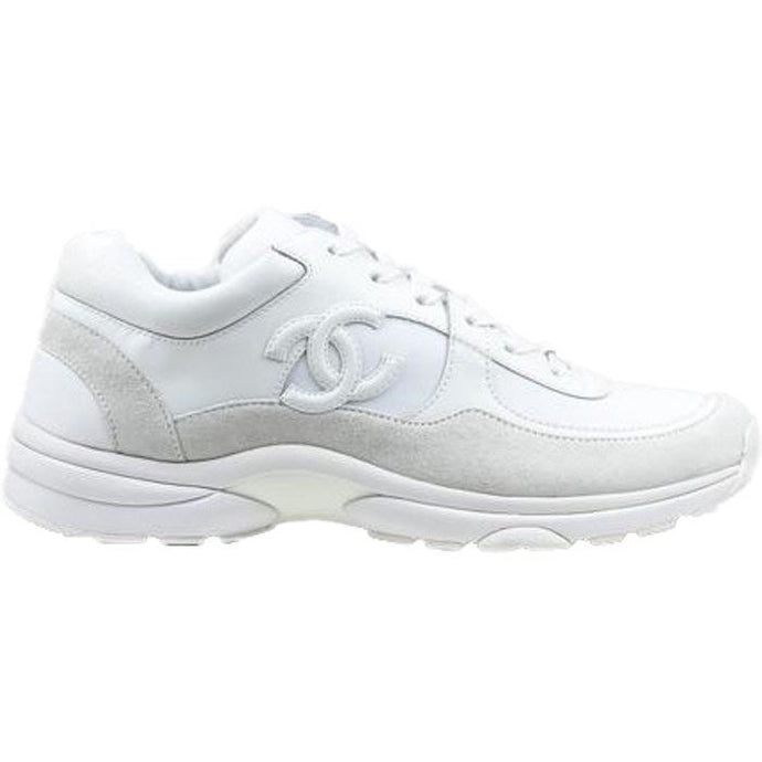 Chanel Suede CC Logo Trainers (Triple White)