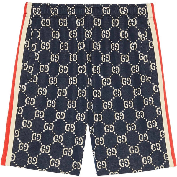 Gucci GG Jacquard Shorts (Navy/Red)