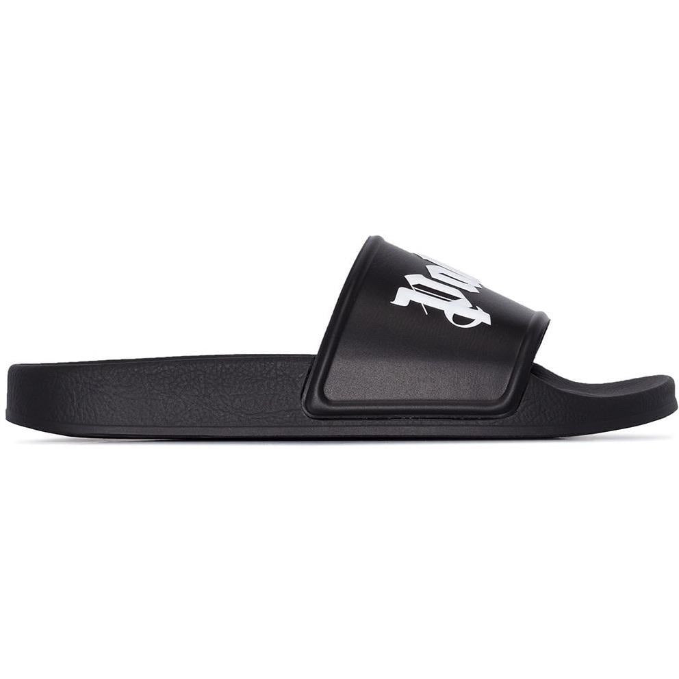 Palm Angels Logo Print Sliders (Black)