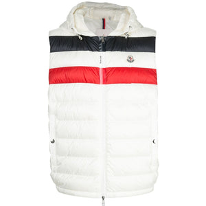 Moncler Timothe Hooded Gilet (White/Tricolour)