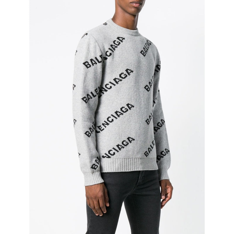 Balenciaga All-over Logo Jumper (Grey)